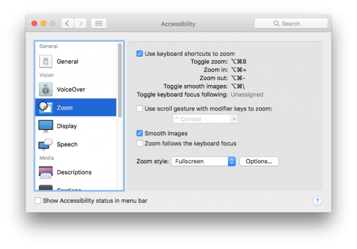 Mac Sierra Accessibility Tip - Zooming